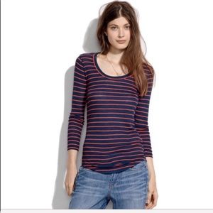Madewell Striped Texture Long Sleeve Top Size S